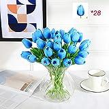yiju 28 Unids Tulipán Artificiales Flor Látex Tulipany Belleza para Siempre Boda Decoración Hogar Decoraciones De Otoño Regalo De San Valentín-Violeta