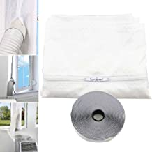 300cm Window Seal for Air Conditioner and Tumble Dryer, Mobile AC Unit White Soft Cloth Window Sealing - Air Exchange Guards Sealed Shield with Zip and Adhesive Fastener