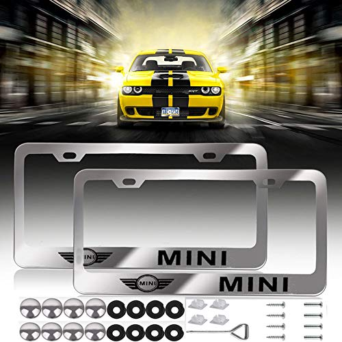 2 Pcs Newest Mini Logo Bling Frosted Silver Aluminum Alloy License Plate Frame,with Screw Caps Cover Set Suit,Applicable to US Standard car License Frame, for BMW Mini(Mini)