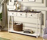 LUMISOL Extra Long Console Table with 3 Drawers and Bottom Shelf, Narrow Entryway Table for Living Room (Beige)