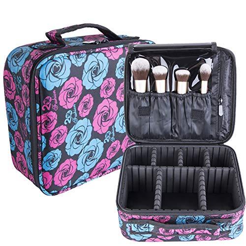 Yiwa Cas de maquillage de sac de rangement de Capacty haut portable de profession de Separater de profession Fleur noir