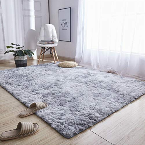 ToDIDAF Quadratischer Teppich Hochflor Teppich Ultraweiche Plüschmatte Moderne Teppiche für Wohnzimmer Schlafzimmer Kinderzimmer Babyzimmer Balkon Halle Dekor (Grau, 60 x 120 cm)