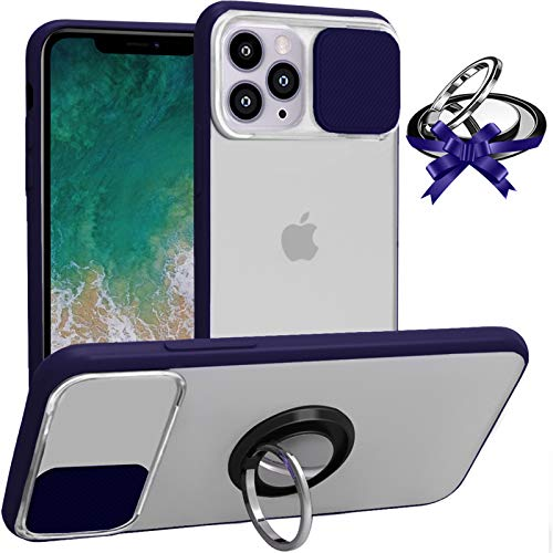 LS LANGSHUN Compatible with iPhone 12 Pro Max Case, Camera Protection, Slide Cover Camera Lens Protector Matte Translucent Back with Rotation Ring Holder [Support Magnetic Car Mount] Protection Case