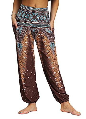 UMIPUBO Mujer Hippies Pantalones Bolsillos Largos Boho Cintura Alta Estampados Yoga Pants Pantalones De Chándal Casuales Activos Pierna Ancha Salón Recto Suelto Pantalones