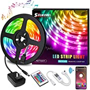 LED Strip Lights SOLMORE LED Light Strips 16.4Ft 5M/10M 32.8FT Wireless Music RGB Tape Lights 150 Lights Smart Phone App Controlled for Home Parties Birthday Bar Club Decoration