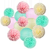 15pcs Cream Pink Mint Green Mix Tissue Hanging Paper Pom-poms, Flower Ball Wedding Party Outdoor Decoration Premium Tissue Paper Pom Pom Flowers Craft Kit