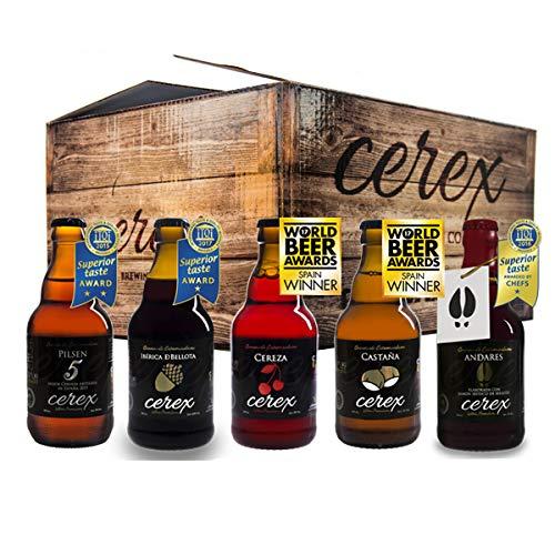 """CEREX- Pack Degustación de 10 Cervezas Artesanas – Cerveza de Castaña, Ibérica de Bellota, Cereza, Pilsen y Andares – Mejor Cerveza Artesanal de España Premios """"World Beer Awards 2017"""""""