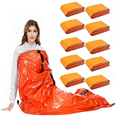 SAINUOD Survival Sleeping Bag, Waterproof Emergency Mylar Blanket Thermal Bivy Sack , with Lightweight Portable Nylon Sack for for Camping Hiking Outdoor Adventure Activities (10 Pack)