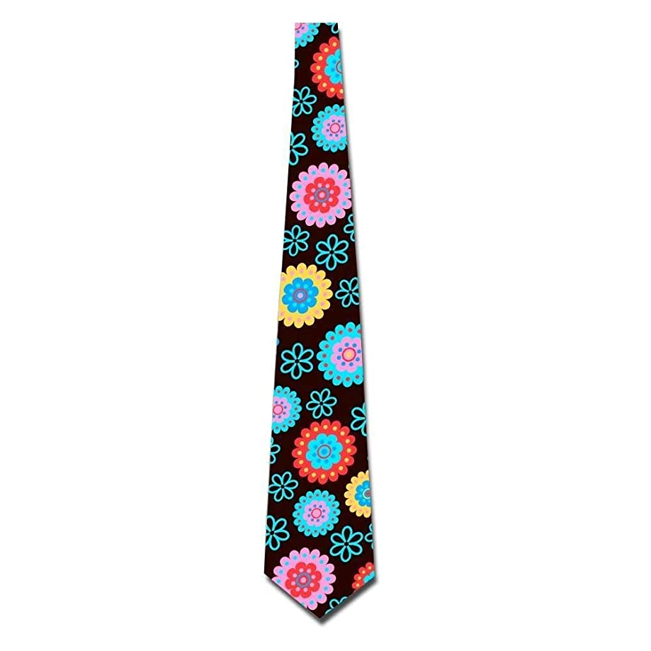 ZOZGETU Necktie, Flower Pattern Colorful Beauty Men's Classic Silk Wide Tie Necktie (8 CM)