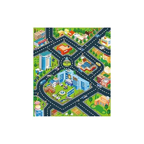 Teppich Matte für Kindererziehung Wohnzimmer Road Playmat Kinderteppich Playmat für das Spielen mit Autos Spielzeug Kinder Schlafzimmer Dekoration(Mehrfarben B,70x80cm)