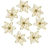 Amajoy 12pcs Glitter Poinsettia Christmas Tree Ornament Artificial Wedding Christmas Flowers Xmas Tree Wreaths Decor Ornament, 5.5inch, Red and Gold for Choice (Gold)