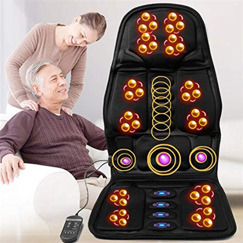 Lzour 8 Mode Massage Seat Cushion with Heated Back Neck Massager Chair for Home & Car