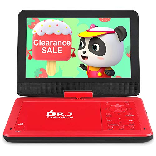 "DR. J 12.5"" Portable Car Video DVD Player 10.5"" Internal Swivel Screen with 5 Hours Rechargeable Battery, Video Player with AV Cable Sync TV, Region-Free DVD Player with Car Charger Red"