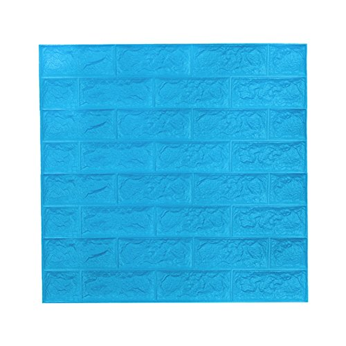 3D Ziegel Tapete, Wandaufkleber Stereo Wandtattoo Papier Abnehmbare selbstklebend Tapete für Schlafzimmer Wohnzimmer moderne Hintergrund TV-Decor 19.375 sq ft (5 Stück Ziegel hell blau)
