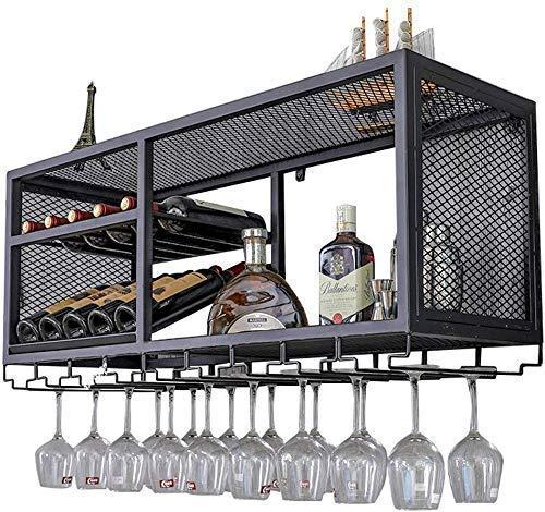 HXCD Organizador de pared para amantes del vino, soporte para botellas y vasos, soporte para botellas y vasos, accesorios para decoración de bar, estantería de almacenamiento de vino (Bla
