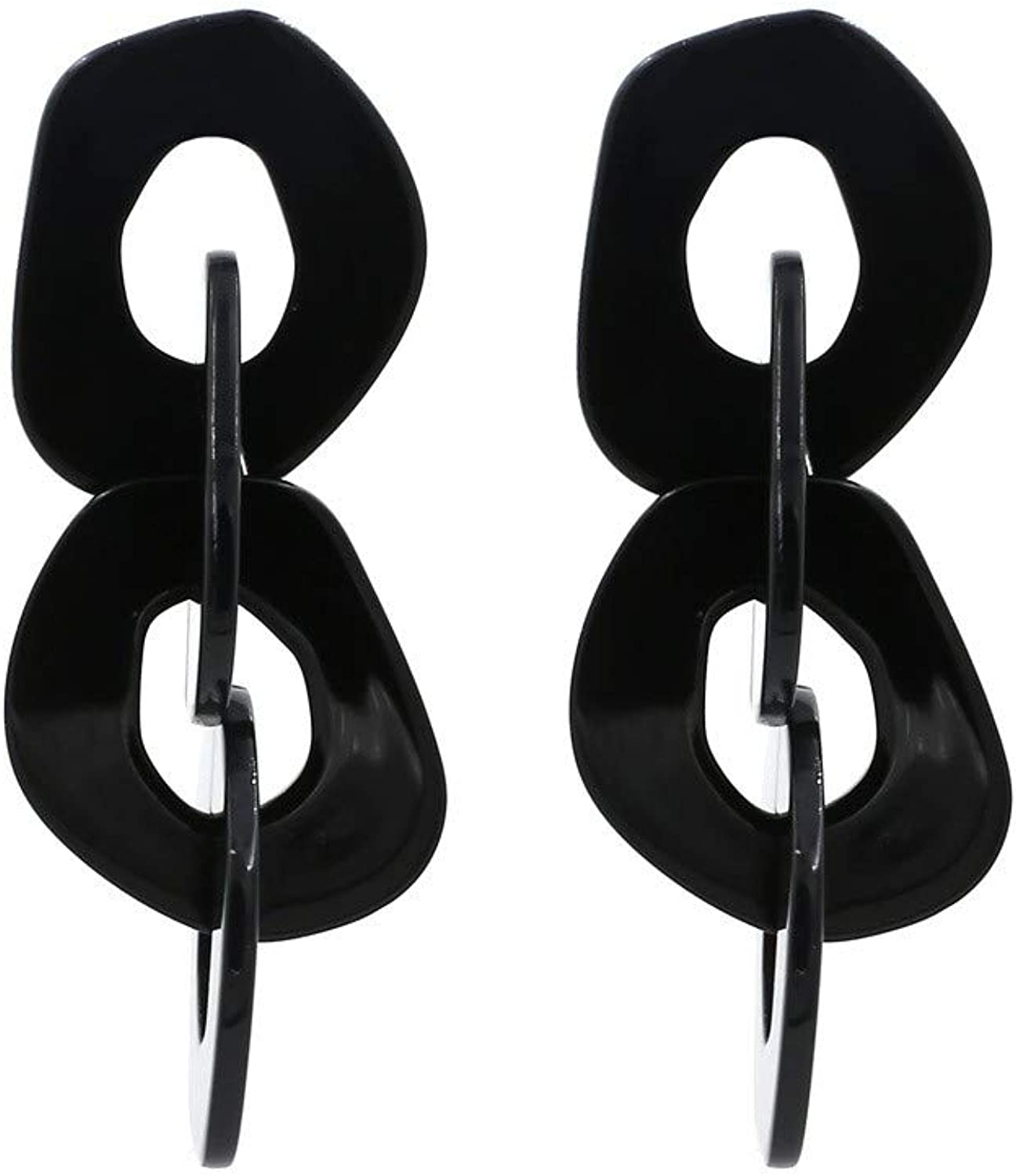 Women's Earrings Europe and The United States Exaggerated Acetic Acid Acrylic Earrings Fashion Resin Long Earrings Black