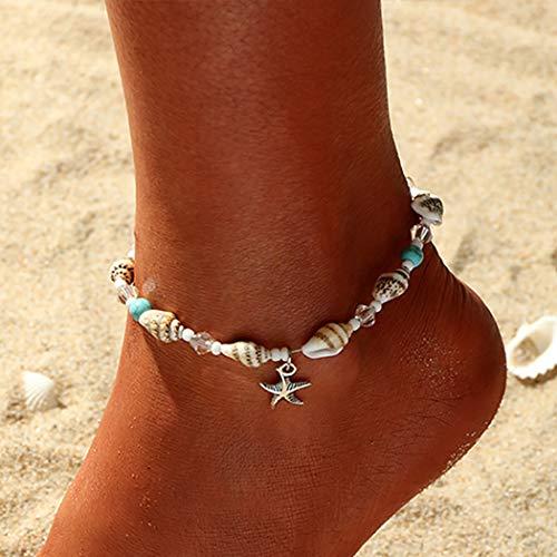Mayelia Boho Seestern Fußkettchen Muschel Strand Fußkettchen Türkis Fußschmuck für Frauen und Mädchen