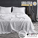 Simple&Opulence 100% Linen Sheet Set with Embroidery Stone Washed - 4 Pieces (1 Flat Sheet & 1 Fitted Sheet & 2 Pillowcases) Natural Flax Soft Bedding Breathable Farmhouse - White, Queen Size