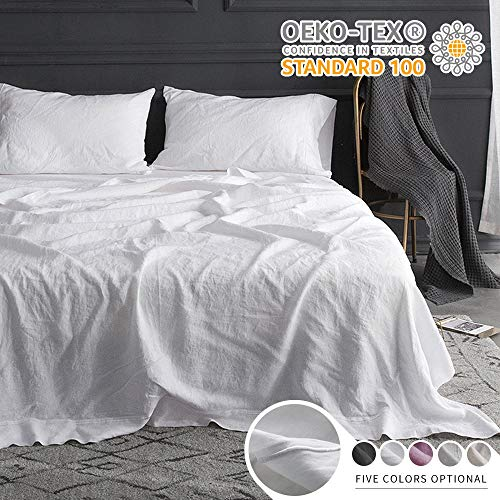 Simple&Opulence 100% Belgian Linen Sheet Set Embroidery Solid Color Super Soft Stone Washed Farmhouse (King, White)