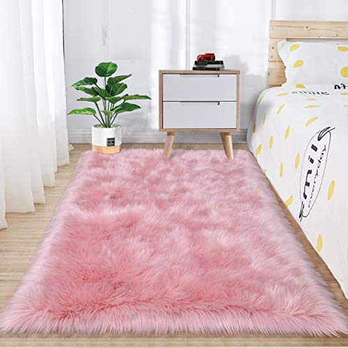 Zareas Luxurious Plush Faux Fur Sheepskin Area Rugs for Living Room Bedroom, Large Super Soft Fluffy Pink Rugs for Indoor Floor Couch Chair Home Decor Nursery Kids Girls Shaggy Carpet(3 x 5 Feet)