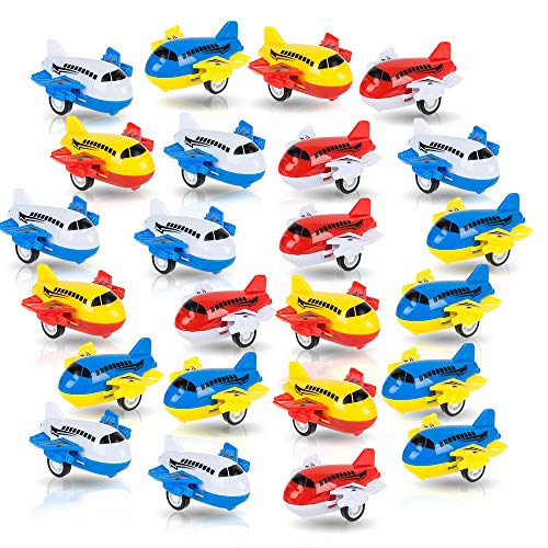 ArtCreativity Pullback Airplane Toys for Boys and Girls, Set of 24, Colorful 2 Inch...