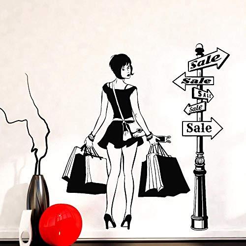 Adesivo Da Parete Adesivo Murale Moderno Ragazza Shopping Sconto Negozio Di Abbigliamento Adesivo Negozio Moda Decorazione Domestica Accessori Soggiorno Z397