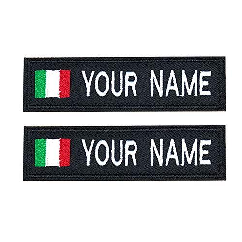 Brillianne Patch Nome Militare Ricamo Personalizzato, Gancio Bandiera Italia su Toppe, Nome Motociclista per Giacche o Gilet Uniformi, targhette identificative - Patch Klett   10 x 2,5 cm