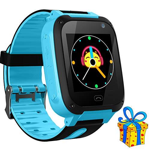 Jslai Niños Smartwatch Relojes,LBS Tracker Inteligente Relojes Telefono de SOS Alarma Cámara móvil Mejor Regalo para niños de 3-12 años niños Regalo de cumpleaños (Azul)