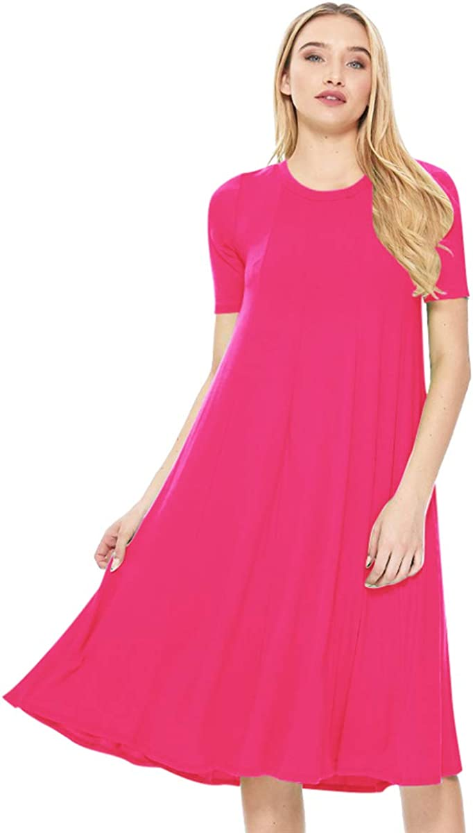 FashionJOA Women's Solid Casual Comfy Short Sleeve Jersey Knit Oversize A-Line Midi Dress