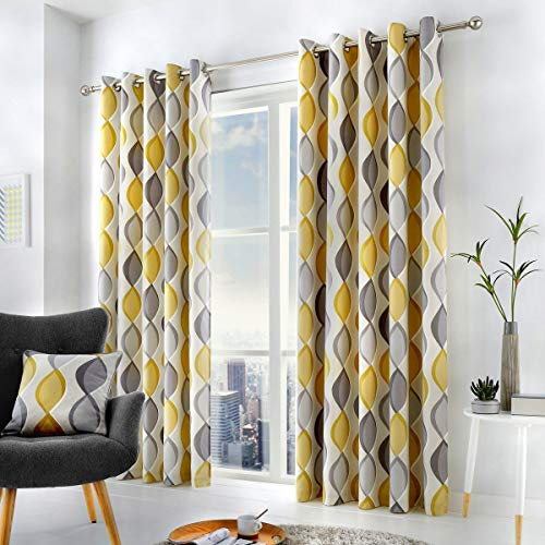Fusion - Lennox - 100% Cotton Lined Eyelet Curtains - 90 Width x 90 Drop (229 x 229cm) in Grey