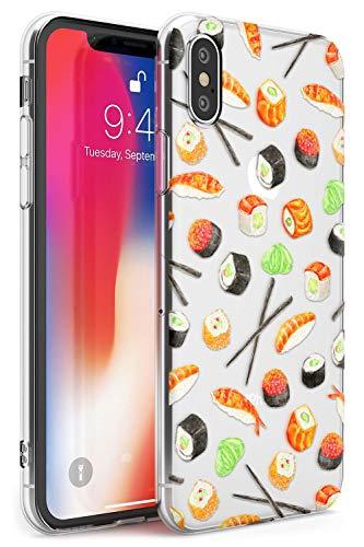 Hülle Warehouse Sushi und Stäbchen Aquarell-Muster Slim Hülle kompatibel mit iPhone XS TPU Schutz Light Phone Tasche mit Transparent Japanisch Lebensmittel Gemalten