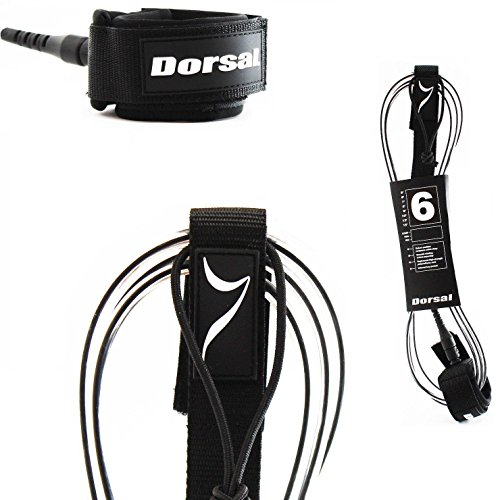 DORSAL Premium Surfboard Leash 6, 7, 8, 9, 10 FT Surf Rope - Clear 7 FT FCS Style/Clear