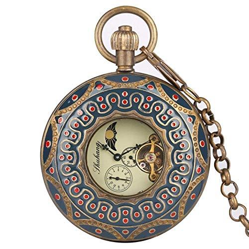 J-Love Reloj de Bolsillo Mecánico de Cobre Puro Retro Tourbillon Grande Reloj de Bolsillo Elegante Double Hunter Hollow Red Dot Embellecimiento Relojes