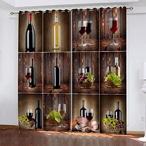 MXYHDZ Cortinas Dormitorio Opacas - Vino tinto copa de vino uvas Impresión 3D, Decoracion de Ventanas Salon Termicas Aisantes Frio y Calor - 234 x 229 cm para Oficina, Dormitorio habitación de los niñ