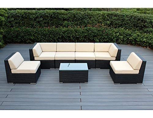 Hot Sale Ohana Collection PN0703aSB Sunbrella Outdoor Patio Wicker Furniture 7-Piece Couch Set with Free Patio Cover, Beige