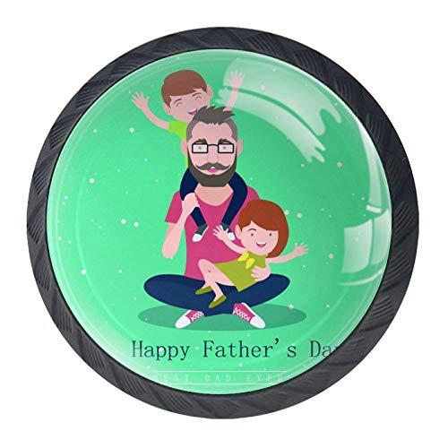 Tirador de cajón TIKISMILE Best Dad, ergonómico, de 35 mm, de cristal, para muebles de cocina, aparador, armario, 4 piezas