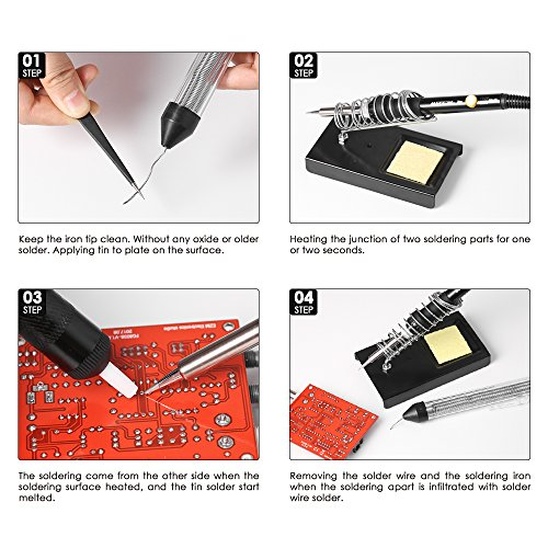 Soldering Iron Kit,Meterk 14PCS 60W Adjustable Temperature Soldering-Iron Gun Kit Soldering Tips Solder Sucker Desoldering Wick Solder Wire Anti-Static Tweezers and Stand with Cleaning Sponge