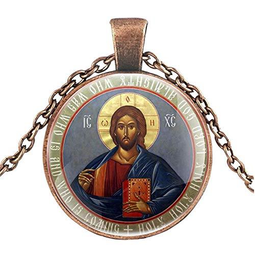 LEYUANA Collar clásico clásico de la cristiandad ortodoxa de la Vendimia Hombres Mujeres Arte Cabujón de Cristal Joyas Regalos AntiqueRed