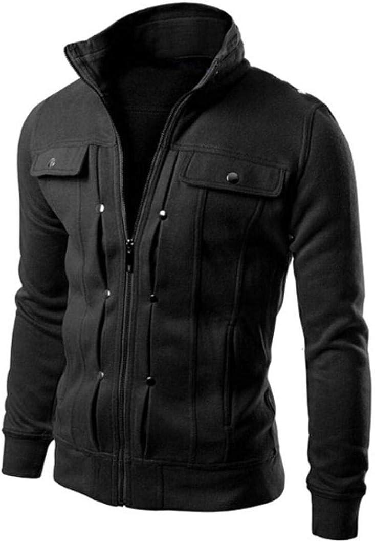 Xinantime Mens Stand Collar Military Jacket Cotton Lightweight Multi Pockets Zipper Up Coat Tactical Warm Winter Jacket