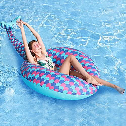 Queta Luftmatratze Meerjungfrau Schwimmring, große aufblasbare schwimmende Reihe Wasser Adult Water Fun Schwimmbett Rettungsboje für Beach Pool Summer Party
