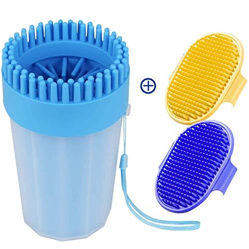 Adusa Pfotenwascher für Hunde, tragbarer Haustierfußreiniger für mittelgroße Hunde, große Hundepfoten-Waschbecher mit weichen Silikonborsten