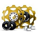 IMPALAPRO Bike Set 2 roldanas, Ruedas o poleas Jockey (11T) Cambio o desviador Trasero Aluminio CNC ultraligeras y Resistentes con rodamiento cerámica para Bici montaña (MTB) o Carretera (Dorado)