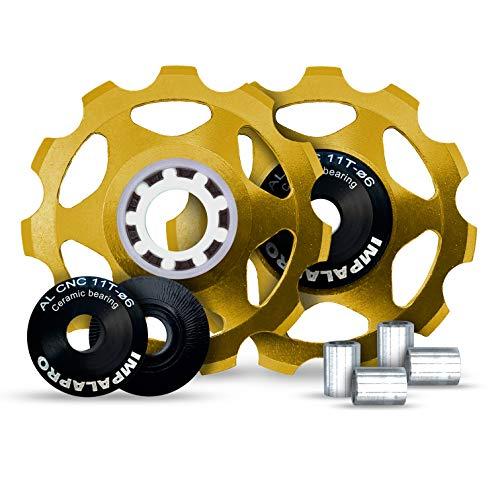 IMPALAPRO Bike 2 Stück Fahrradumwerfer Schaltröllchen Fahrrad Schaltwerk Riemenscheibe 11T Aluminium CNC für Mountainbike (MTB) oder Rennrad - Ultraleicht und robust - Keramiklager (Golden)