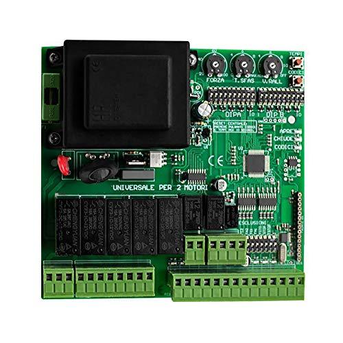 KASER Scheda Centrale di Controllo Universale per Cancello Battente 1/2 ANTE con Radio Ricevente Integrata Codice Fisso Rolling Code compatibile per Multi Marca Gestisce 2 Motori 220V AC
