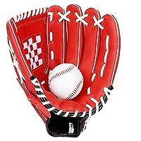 少年野球 軟式 グローブ キッズ野球グローブトレーニングメンズ野球バッティンググローブ野球グローブアダルト野球装置野球用手袋 (色 : Red, Size : 11 inch)
