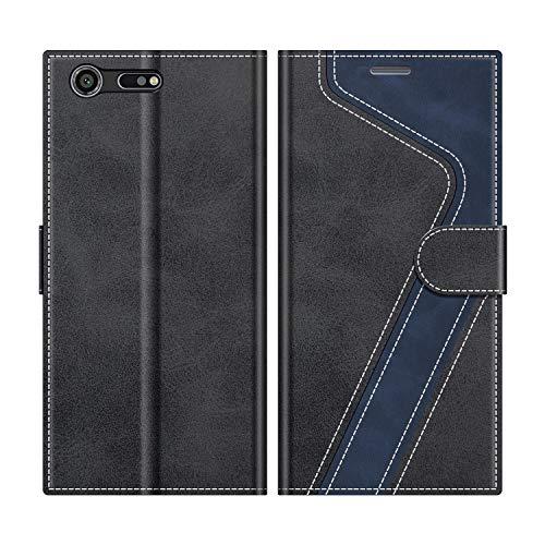 MOBESV Handyhülle für Sony Xperia XZ Premium Hülle Leder, Sony Xperia XZ Premium Klapphülle Handytasche Hülle für Sony Xperia XZ Premium Handy Hüllen, Modisch Schwarz