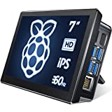 Raspberry Pi 4, cdisplay 7' Raspberry Pi Monitor mit Gehäuse, Type-C/HD Ports, 1024x600HP, Touchscreen Monitor mit Lüfter für Smart Home Center, vernetzter Ai Core, Factory Controller, etc