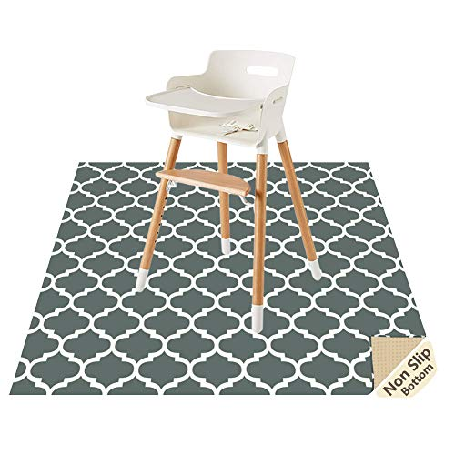 """Splat Mat for Under High Chair/Arts/Crafts by CLCROBD, 51"""" Baby Anti-Slip Food Splash and Spill Mat for Eating Mess, Waterproof Floor Protector and Table Cloth (Lattice)"""