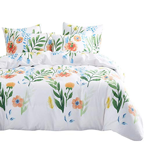 Wake In Cloud - Watercolor Floral Comforter Set, 4 Pillow Cases, Colorful Flowers Leaves Flowers Painting Pattern Printed, 100% Cotton Fabric with Soft Microfiber Inner Fill Bedding (Queen Size)