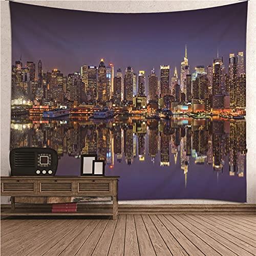 shuimanjinshan Wandteppich Wandbehänge New Yorker Nachtansicht Tapisserie Wandtuch Hausdeko Strandtuch Tagesdecke Boho Deko 260X300Cm (B-1271)